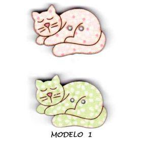 Botones decorativos de madera con forma de gato.  Medida:    Modelo  1 :  3  x  2.5   cm.    2  Unidades.                  Modelo  2 :  5.5 x 3.5  cm.    Unidad.                  Modelo  3 :  4.5 x  4    cm.    Unidad.                  Modelo  4 :    5  x  3    cm.    Unidad.
