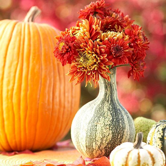 Fall Gourd Vase - A hollowed-out gourd makes an excellent vase and fresh fall centerpiece. Pumpkins of varying sizes and colors, as well as beautiful red flowers, give this centerpiece a fun, fall feel that will be perfect for your table all season long.