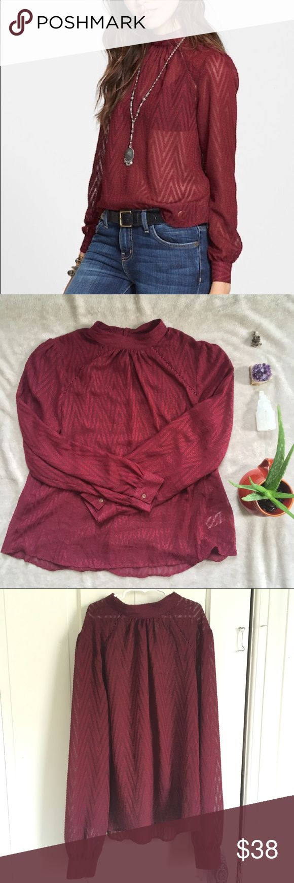 Free People Sheer Chevron Blouse NWOT. sold out in stores. The sheer design of this blouse makes it perfect for flirty layered styling. Mock neck, long sleeves with barrel cuffs, back button closure, textured throughout. Free People Tops Blouses