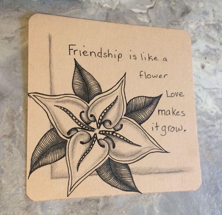 | Zentangle | Zenart | Zendoodle | the100dayproject | I Teach Tangling | Tangling | Flowers | Toodles | Friendship |