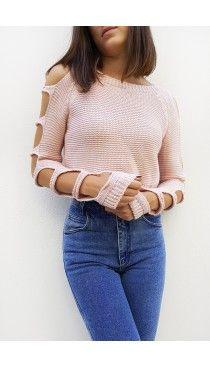 Ροζ πλεκτή μπλούζα με cut-outs