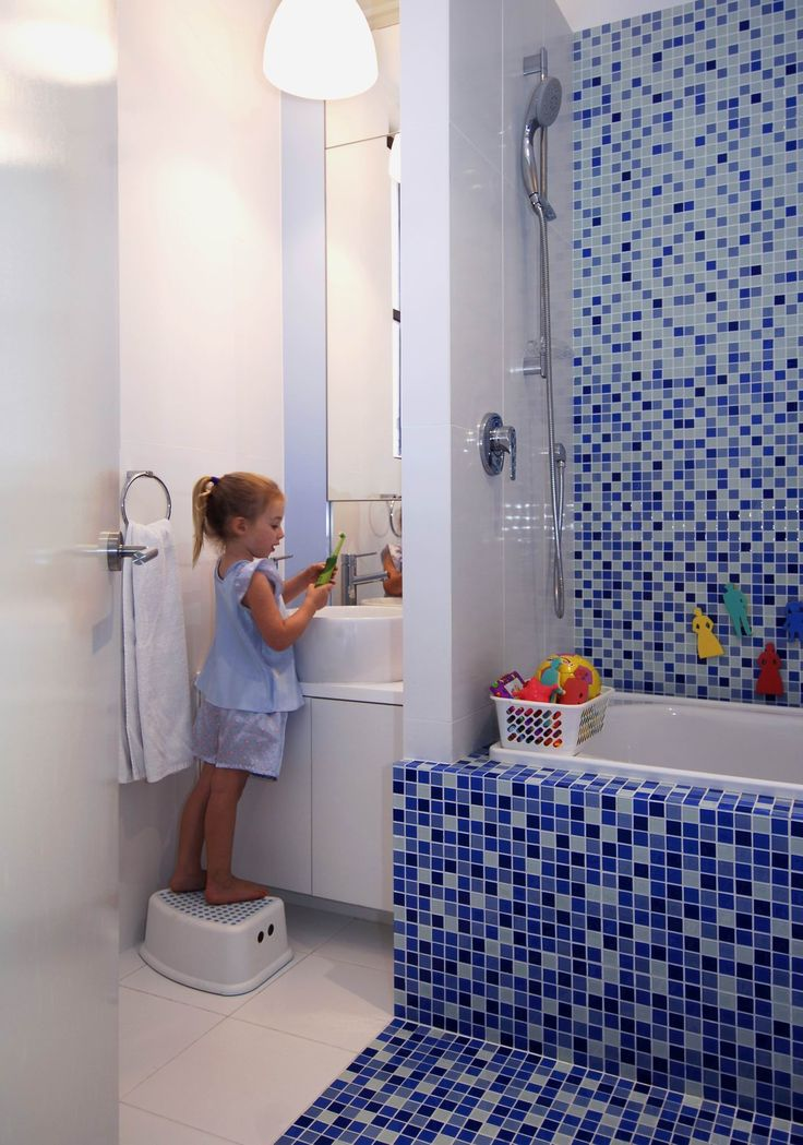 Kids bathroom for swimming coach clients. Brooke Aitken Design.
