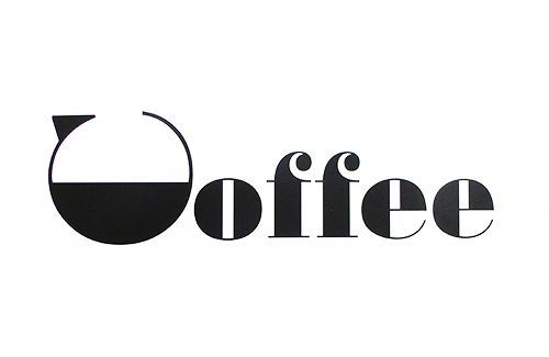 "The first letter is turned on its side into a coffee pot silhouette, but the rest of the word still reads as ""Coffee""."