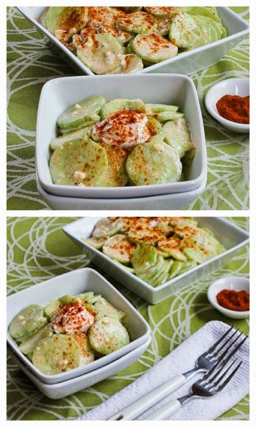 UH-MAY-ZING recipe for Al's Famous Hungarian Cucumber Salad; this is from my friend Al Church who used to be a newspaper food critic and it may be the best cucumber salad I've ever had!  [from Kalyn's Kitchen] #LowCarb  #GlutenFree  #SouthBeachDiet