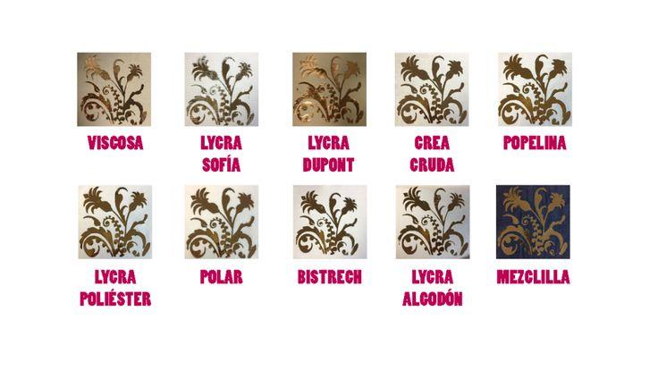 Muestras proceso de estampado con papel foil terminado en distintas telas.