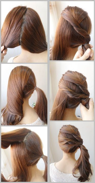 Side Hair Twist Pony Tail Tutorial for as soon as my hair grows out! Lol