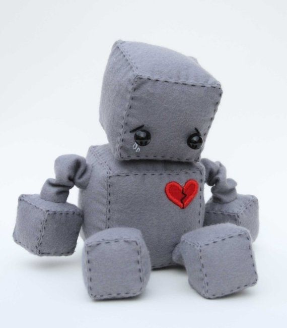 Adorable Robot PlushiesSadness Robots, Tins Man, Plush Robots, Inspiration Boards, My Heart, Brokenhearted Robots, Robots Plush, Broken Heart, Crafts
