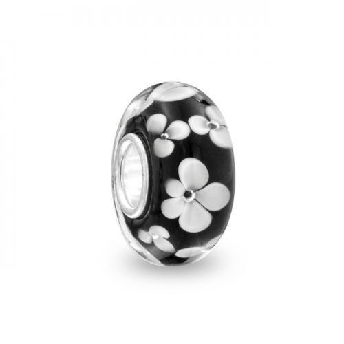 Black Flower 925 Sterling Silver Murano Glass Bead Pandora Chamilia Biagi Troll Compatible