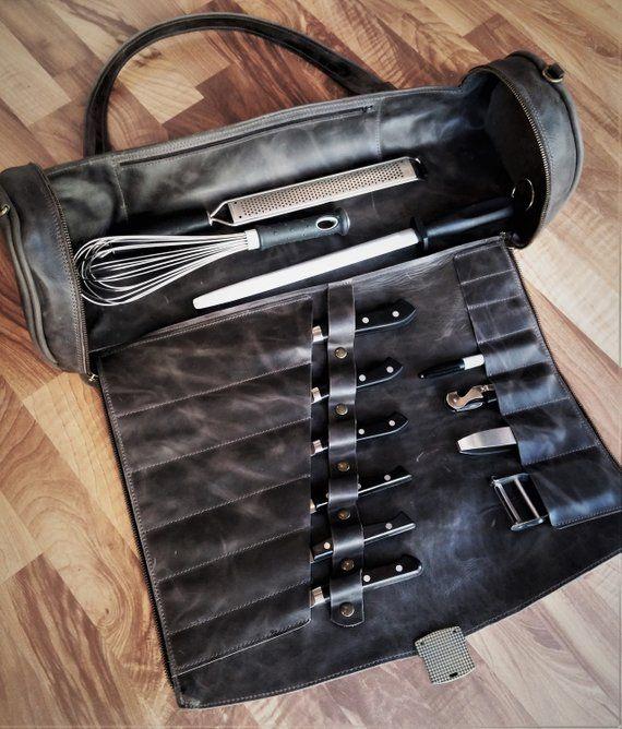 Professional Dark Brown Chef Knife Bag Cooking School Grad Gift