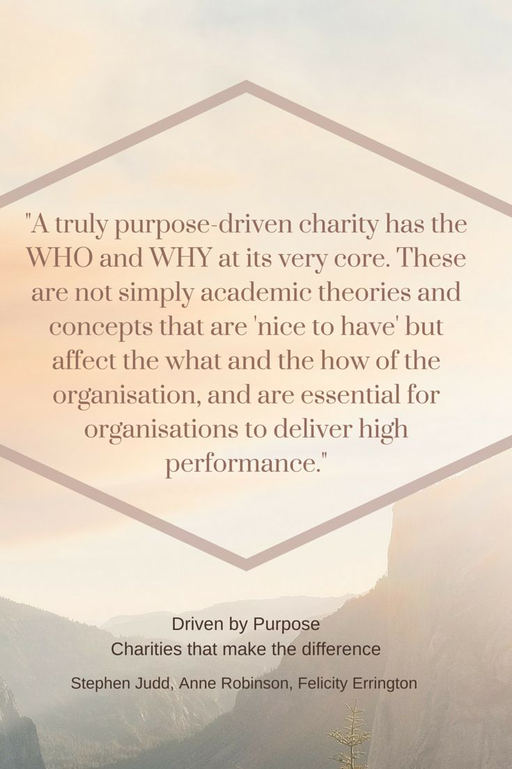 Driven by Purpose: Charities that make the difference, explores the identity crisis at the heart of Australian charities and offers practical advice on rediscovering purpose that drives and shapes. http://www.hammond.com.au/shop/leadership/driven-by-purpose-charities