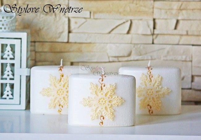Świąteczna Biała Świeca Płatek Śniegu 2