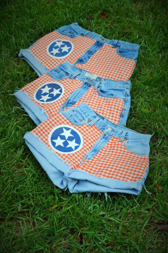 Its Football Time In Tennessee!! Custom Inspired University of Tennessee (Tennessee Vols) Tri-Star High Waisted Shorts *All Denim Shorts are