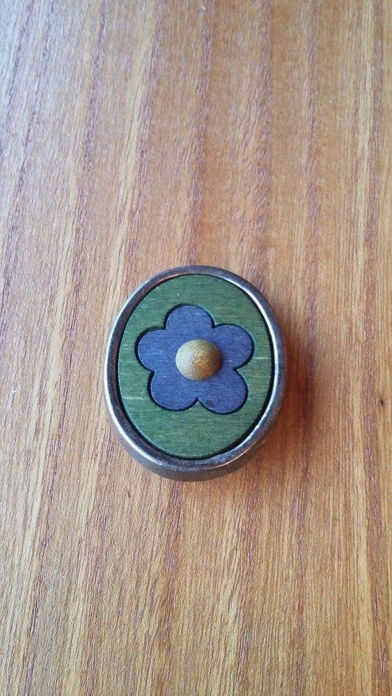 Aarikka Finland Vintage  Wooden Brooch Blue Flower on a Green Background  #Aarikka
