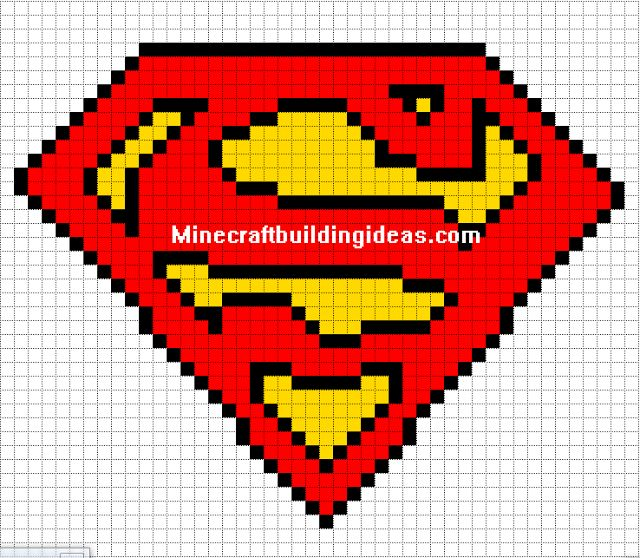 "Once I can get a set of tunisian crochet hooks, I can adapt this and use a nice bright ""superhero"" blue. Maybe next year for Nathan's Christmas... Minecraft Pixel Art Templates: Superman logo"