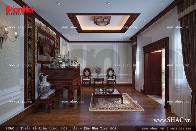 Nội thất phòng thờ cổ điển đẹp thanh tịnh, nghiêm trang