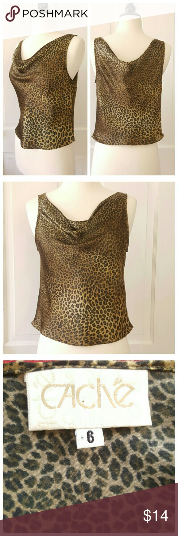 SALE today only Cache Leopard Print Top SALE today only Cache leopard print satin top with drape neckline. Cache Tops Tank Tops