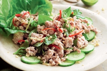 Larb gai with mint and basil  This Thai-inspired dish is perfect for those midweek dinners when you want something quick, easy and light. It doesn't need oil, so the meat has a lovely light, un-fried quality to it. Served with rice, it's a satisfying main meal.
