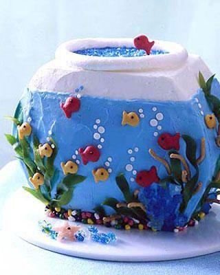 Aquarium birthday cake ocean inspirations food for Fish tank cake designs