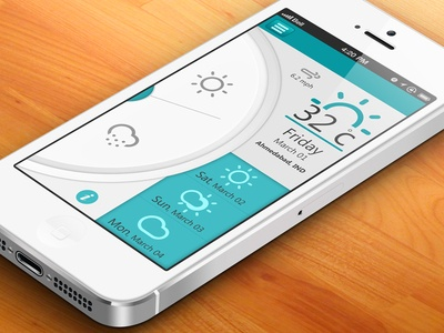 Weather App UI - iOS layout found on Dribbble.