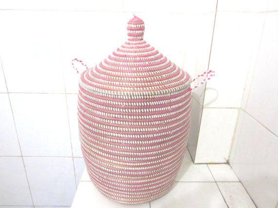 Pink and white laundry basket, striped Hamper, medium size storage bin