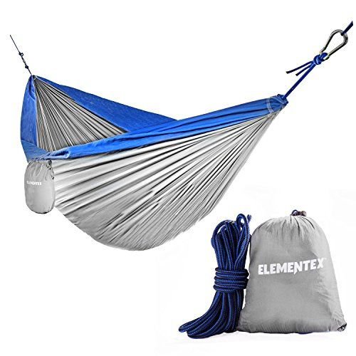ELEMENTEX Portable Parachute Nylon Travel Camping Backpacking Hammock - Small Silver & Blue. For product & price info go to:  https://all4hiking.com/products/elementex-portable-parachute-nylon-travel-camping-backpacking-hammock-small-silver-blue/
