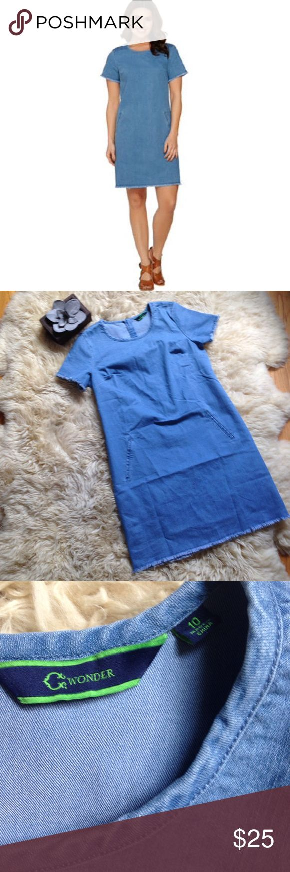 "C. Wonder Short Sleeve Denim Dress C. Wonder Short Sleeve Denim Dress. New without tags. Raw edge details. Front pockets. Back zipper. Unlined. Has stretch. Armpit to armpit is 19""across laying flat. Length is 36"". C. Wonder Dresses"