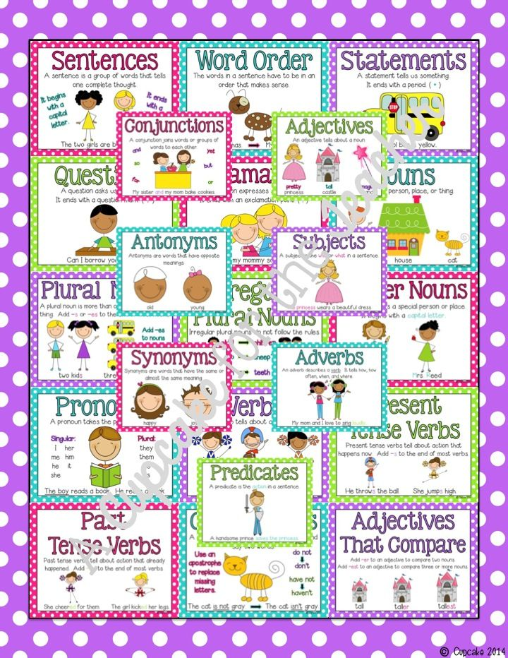 Grammar Center Starter Kit!  Includes 22 skills posters, plus practice sheets!