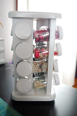 A rotating spice rack for small craft and office supples. I picture myself never searching for a safety pin, paper clip, small highlighter, etc. again. Everything is right at your fingertips.
