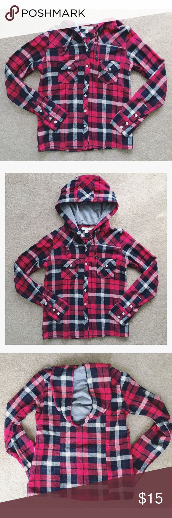 Hooded Plaid Button-down Top Red, white, and black plaid button-down flannel top, with a gray jersey lined hood. Faux-pearl snap buttons on front placket, cuffs, and pockets. Stock photo from Delia's.   Tag says size M but fits like a S or XS Barely worn, excellent used condition. No modeling (it doesn't fit me) • No trades • Make all offers using the offer button! Delia's Tops Button Down Shirts