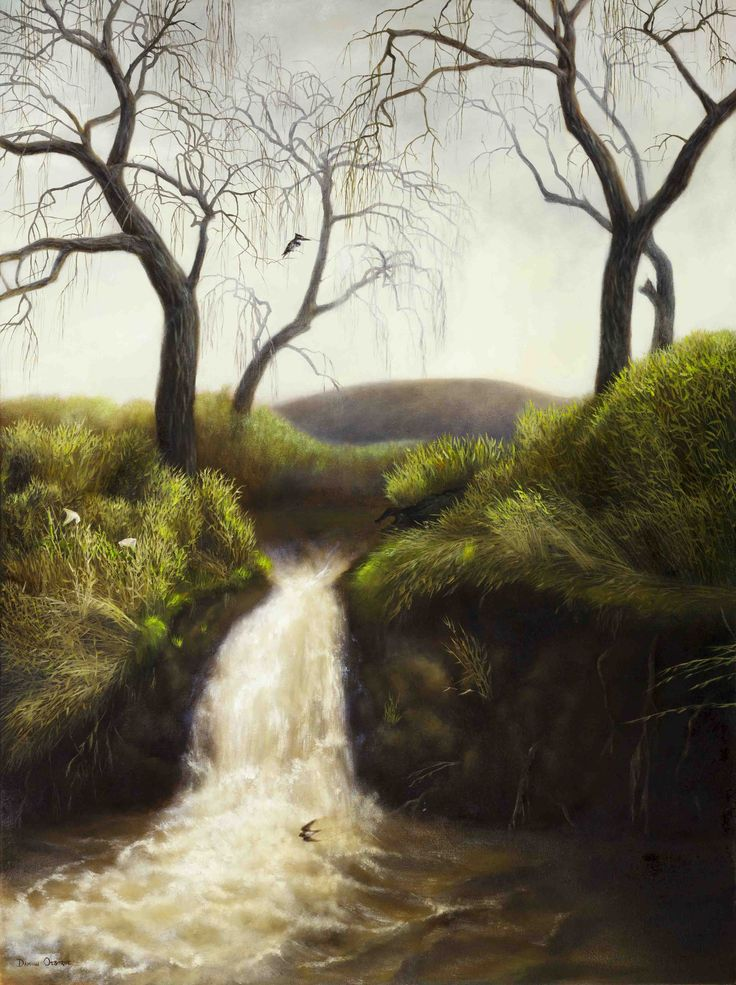Waterfall and Willows - Oil on Canvas. 100 x 75 cm. I often walked along the Grootboskloof River near my home. This waterfall and the Willow trees are gone now, so I'm glad that I captured it when I did. The river became quite full in winter due to our winter rainfall in the Cape. The trees are barren and stark against the winter sky. A Pied Kingfisher and a Martin inhabit the quiet scene. There is only the sound of tumbling water.