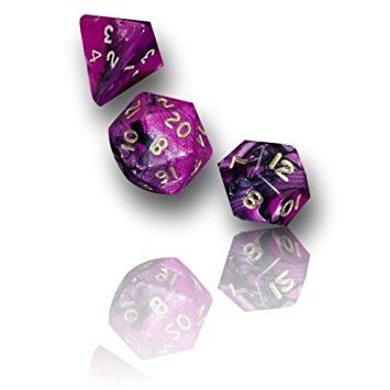 Custom & Unique {16MM Medium Size} 7 Ct Pack Set of [D4, D6, D8, D10, D12, D20] Opaque Playing & Game Dice w/ Swirled Gemini Neon Bubblegum Princess Design for Role Playing RPG Dungeon & Dragon [Pink, Purple, Black, & Gold]