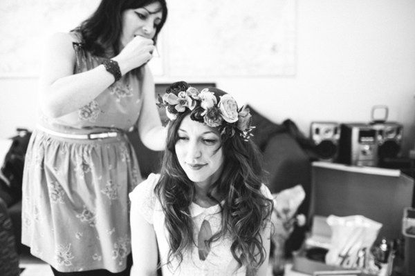 ANNE MARIE MCELROY  wedding hair and make up / loose waves / relaxed bride / I HEART FLOWERS floral crown / CARO WEISS photography