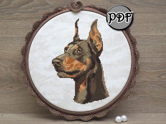 Dobermann Dog Face Cross Stitch Pattern Pdf By Annaxstitch