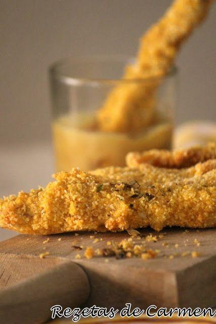 rezetas de carmen: Tiras de pollo crujiente con salsa de mostaza y miel