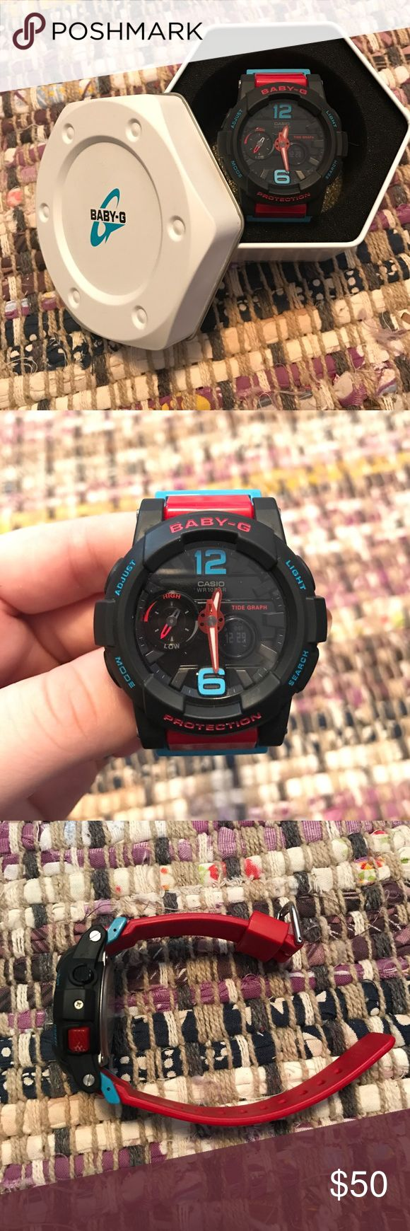 Like new Baby-G Shock Watch! Basically new baby G shock watch. Band is red plastic with light blue accents and a matte black face. Tells time, temperature, tides, distance. Has a timer, light, and alarm setting! It was only worn a couple times and looks brand new. G-Shock Accessories Watches