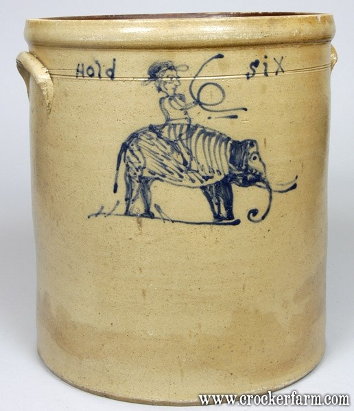 "Unique and Important Six-Gallon Stoneware Crock with Slip-Trailed Cobalt Elephant & Rider Decoration and the Phrase ""Hold Six,"" Midwestern origin, probably Ohio, circa 1875"