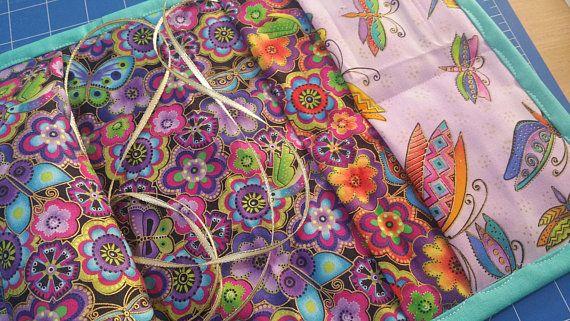 Sewing Caddie - Laurel Burch print Caddie - Embroidery Sewing Caddy - Tapestry Sewing Caddy - Needlepoint Caddie - Armchair Sewing Caddy
