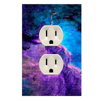 Wall Plug Outlet Cover With Decal Galaxy Space Decor OU15