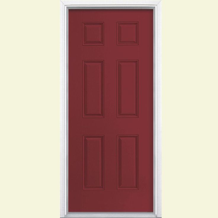 Masonite 32 in. x 80 in. 6-Panel Painted Smooth Fiberglass Prehung Front Door with Brickmold, Red Bluff (Ecc-36-3)