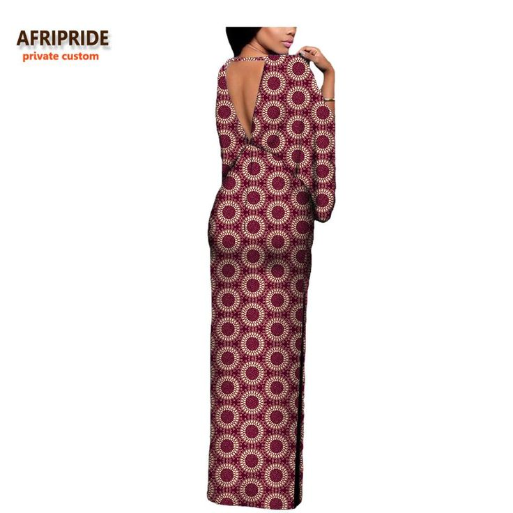 Please pay close attention to sizing measurements (if applicable), as items may run small. Customized sizing available Brand Name: AFRIPRIDE Silhouette: Straight Neckline: V-Neck Sleeve Style: Flare Sleeve Dresses Length: Ankle-Length Sleeve Length(cm): Three Quarter Pattern Type: Print Waistline: Natural Fabric: Batik Lining: No