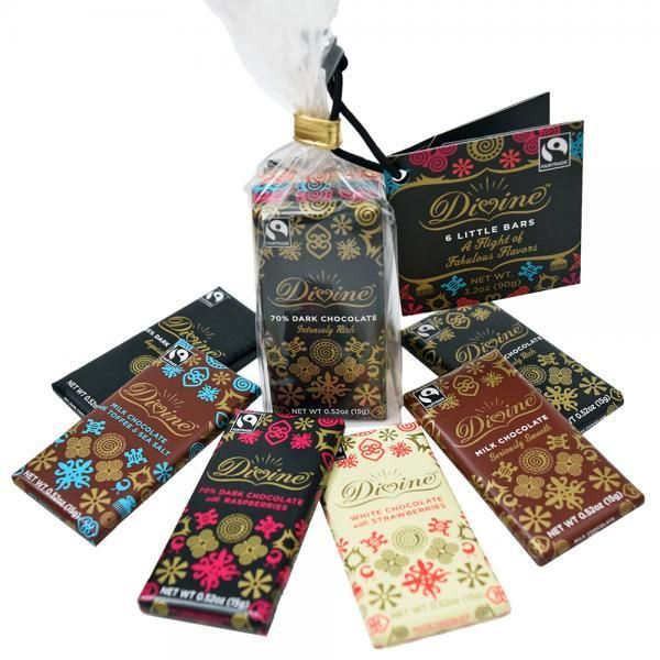 Fair Trade Chocolate Flight - Gift Set of 6 Petite Bars