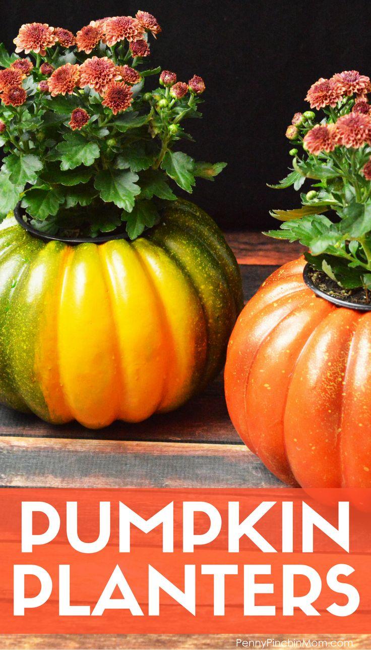 Fall decorating on a budget - Simple Fall Decor Idea Pumpkin Planters