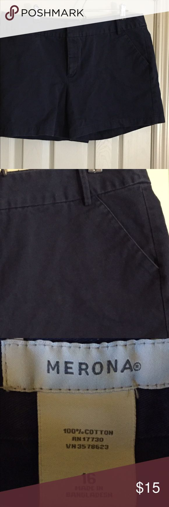Navy Blue Shorts Navy Blue Shorts.  Smoking and Dog Household. If you don't like cigarette smoke please know this before buying and then giving a bad rating because of smoke smell. Thank you Merona Shorts
