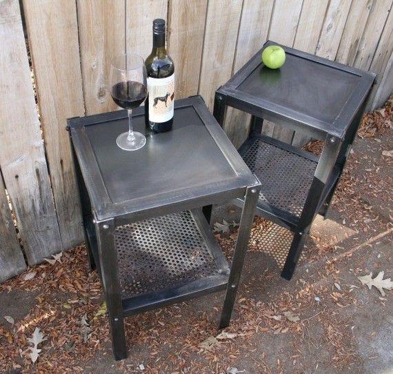 Handmade scrap metal industrial side table  by jreal on Etsy, $295.00