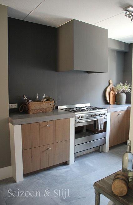 Keuken Van Eikenhout : Seizoen & Stijl – Erg mooi – hout – offwhite – grijs Keuken