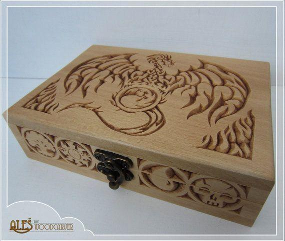 Magic the Gathering Dragon card box MTG EDH by Alesthewoodcarver