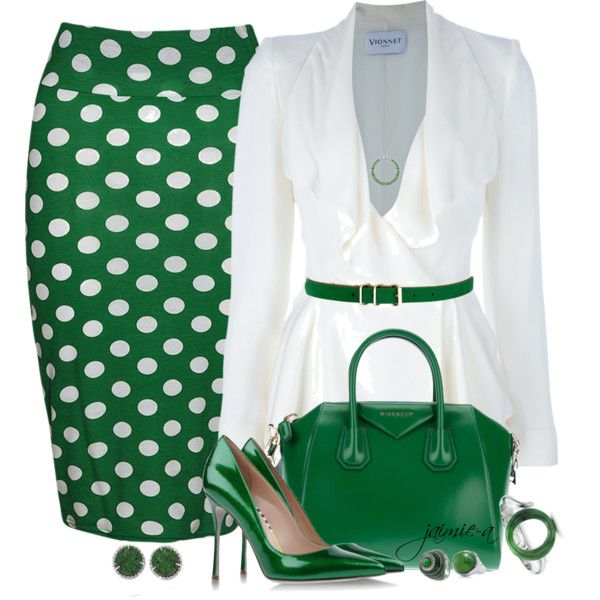 To complete: green polka dot skirt, green pumps, green purse, white blazer …