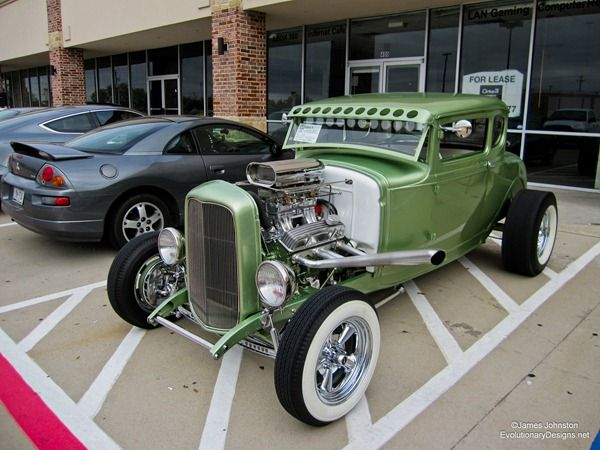 1930 custom Ford Model A. This hot rod has a supercharger