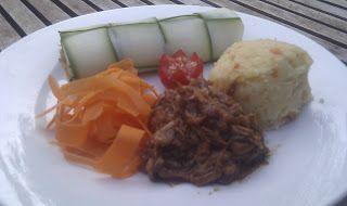 Danish blog  Mine opskrifter:  Barbeque Pulled pork (vegetarisk) (2 pers.)
