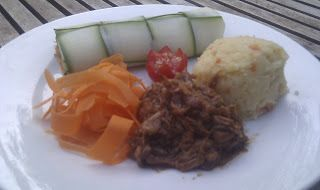 Danish blog  Mine opskrifter:  Barbeque Pulled pork (vegetarisk) (2 pers.)